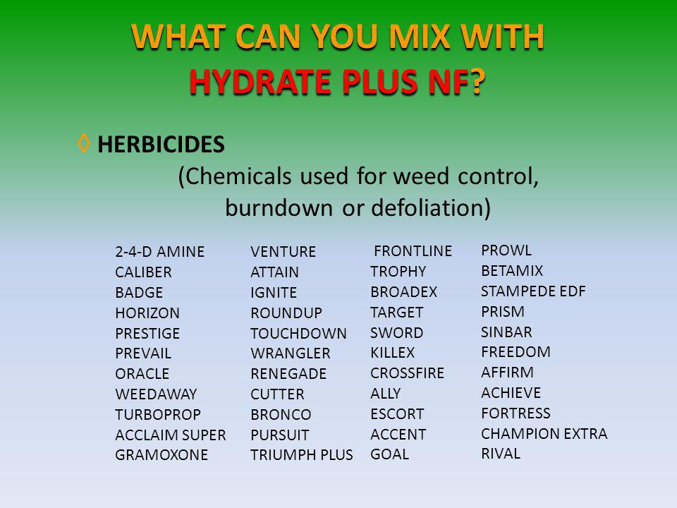 WHAT CAN YOU MIX WITH HYDRATE PLUS NF