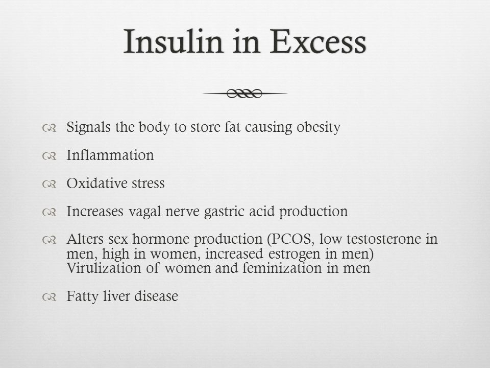 Insulin in Excess Signals the body to store fat causing obesity