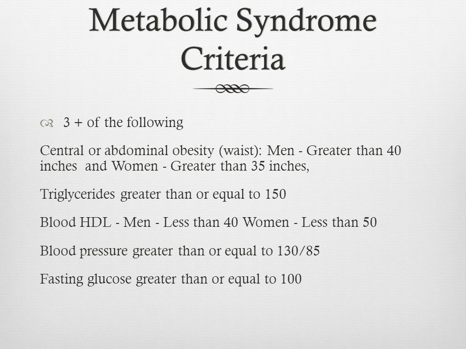 Metabolic Syndrome Criteria