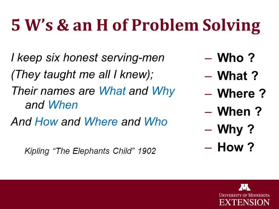 5 W's & an H of Problem Solving