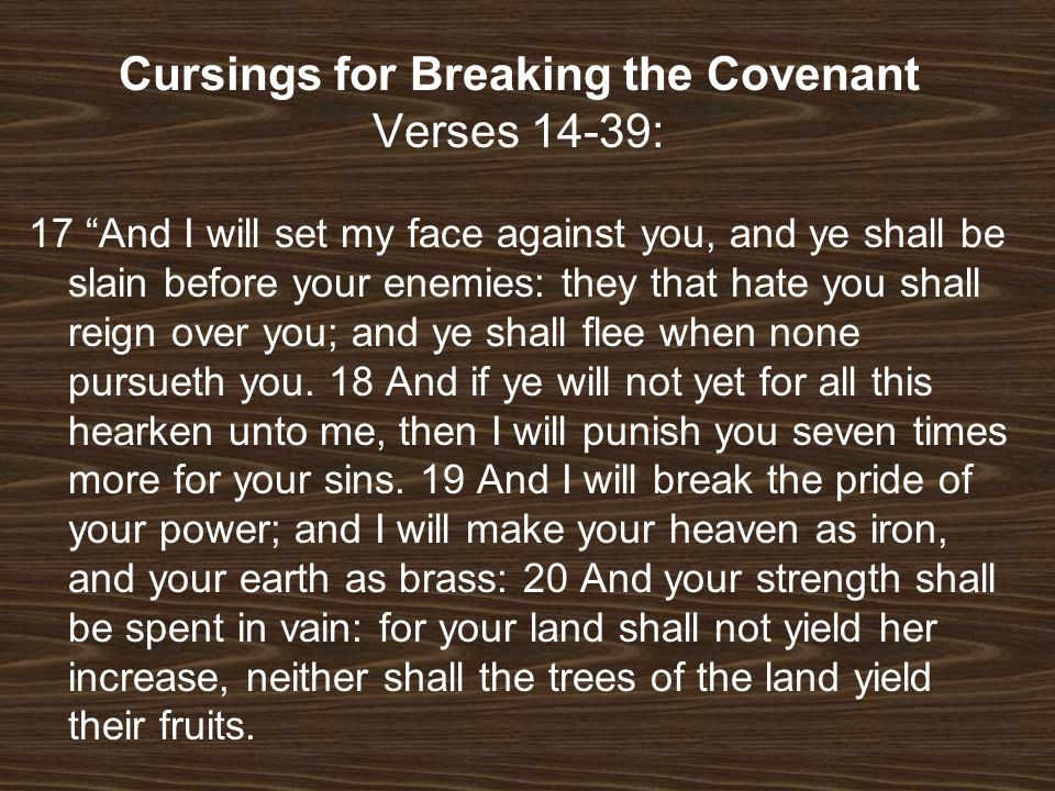 Cursings for Breaking the Covenant Verses 14-39: