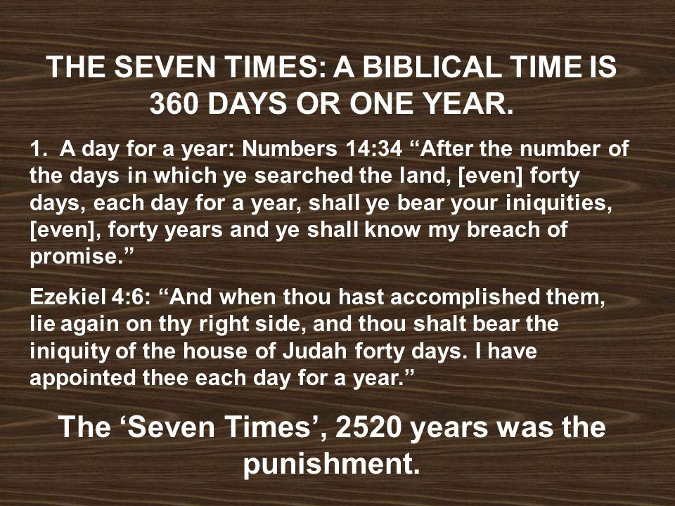 THE SEVEN TIMES: A BIBLICAL TIME IS 360 DAYS OR ONE YEAR.