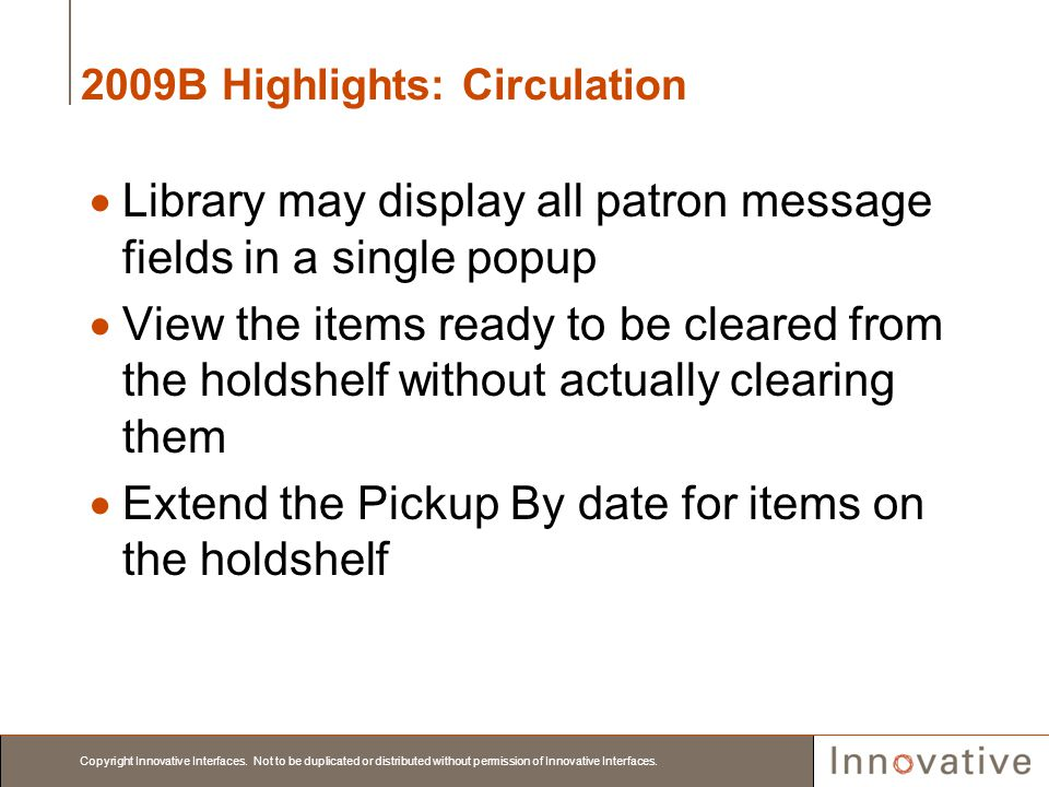 2009B Highlights: Circulation