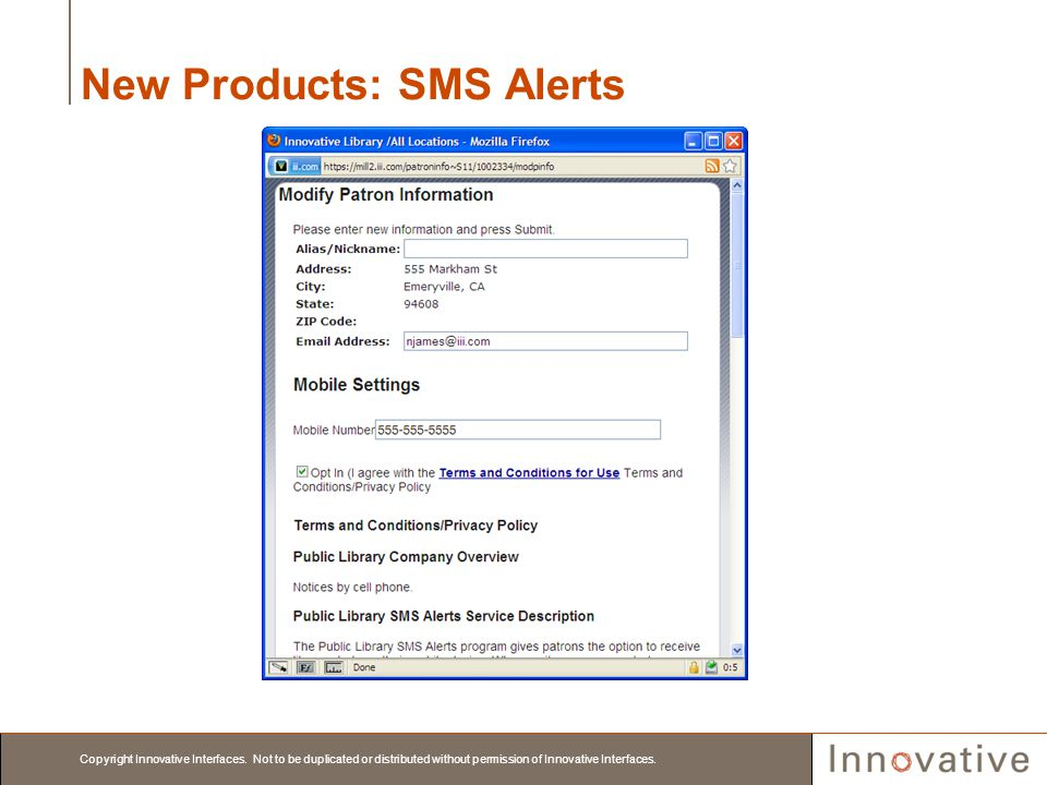 New Products: SMS Alerts