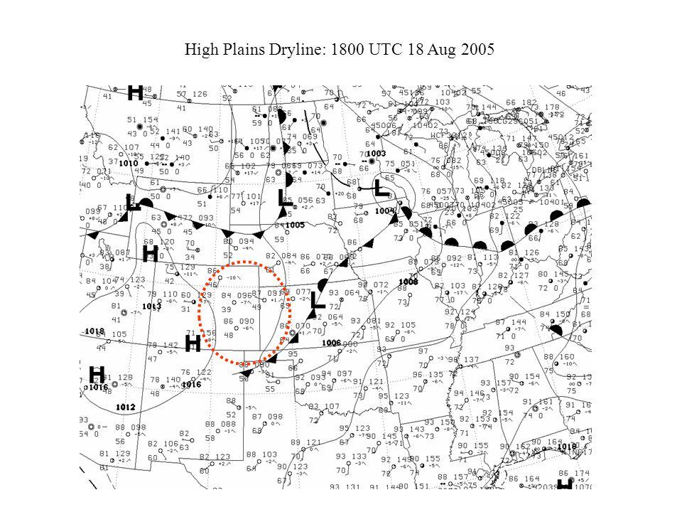 High Plains Dryline: 1800 UTC 18 Aug 2005