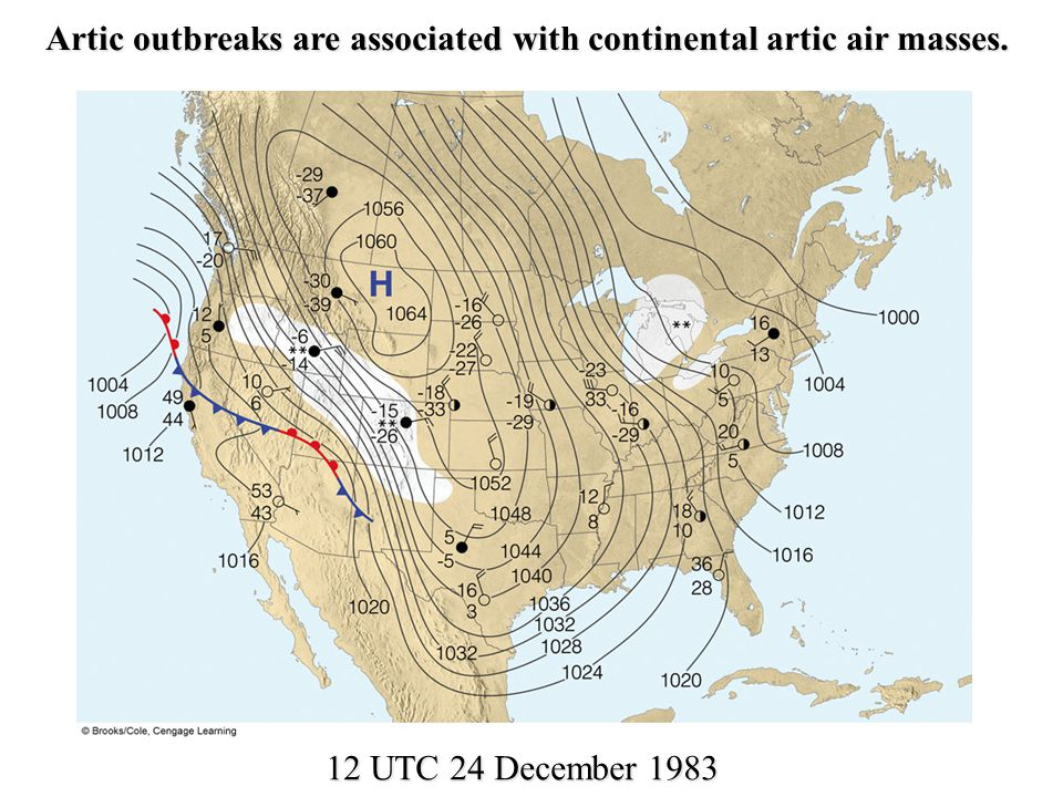 Artic outbreaks are associated with continental artic air masses.