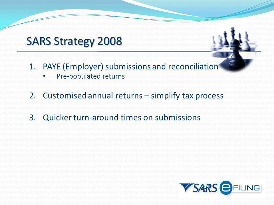 SARS Strategy 2008 PAYE (Employer) submissions and reconciliation
