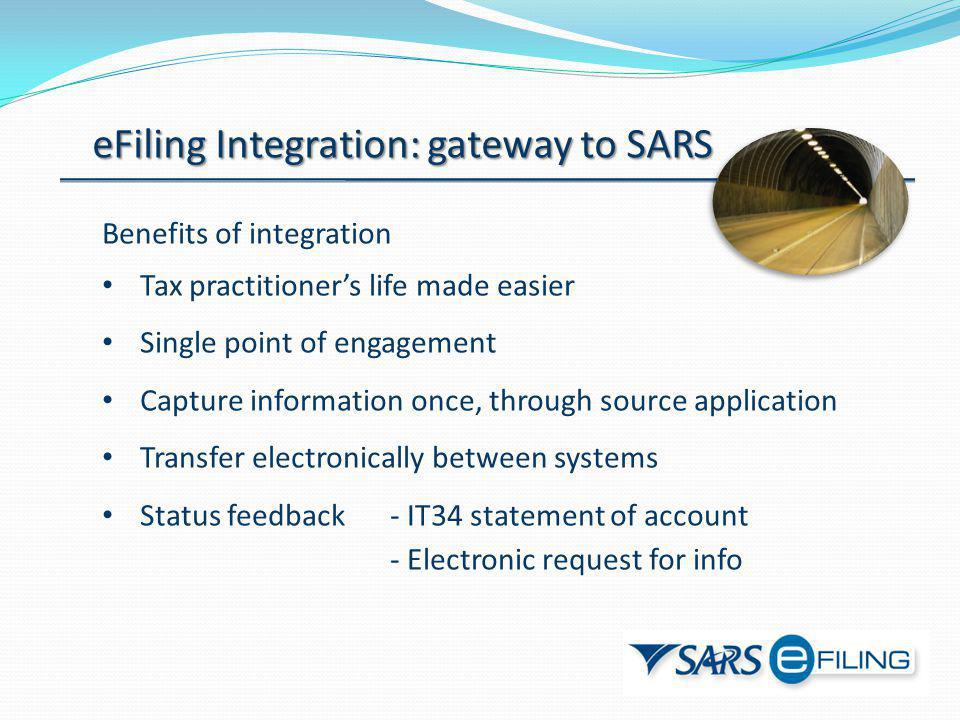 eFiling Integration: gateway to SARS