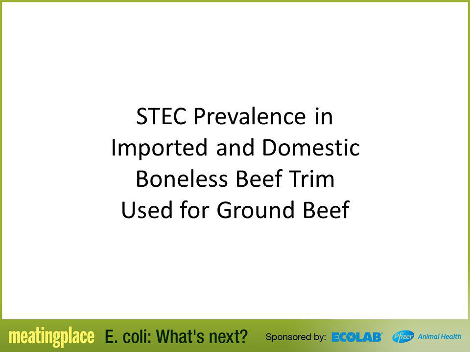 STEC Prevalence in Imported and Domestic Boneless Beef Trim Used for Ground Beef