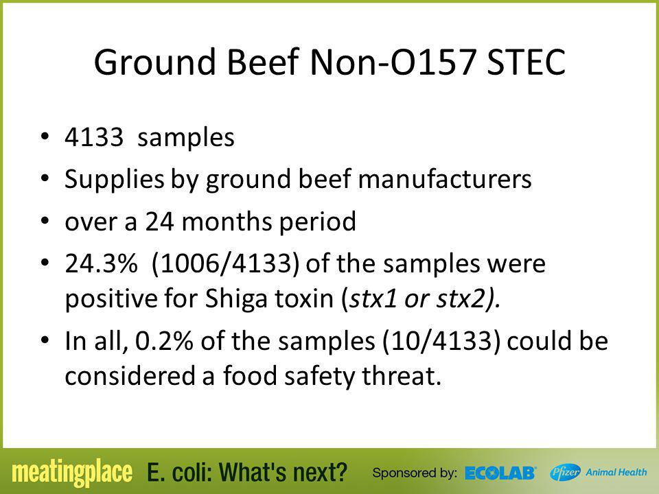 Ground Beef Non-O157 STEC 4133 samples