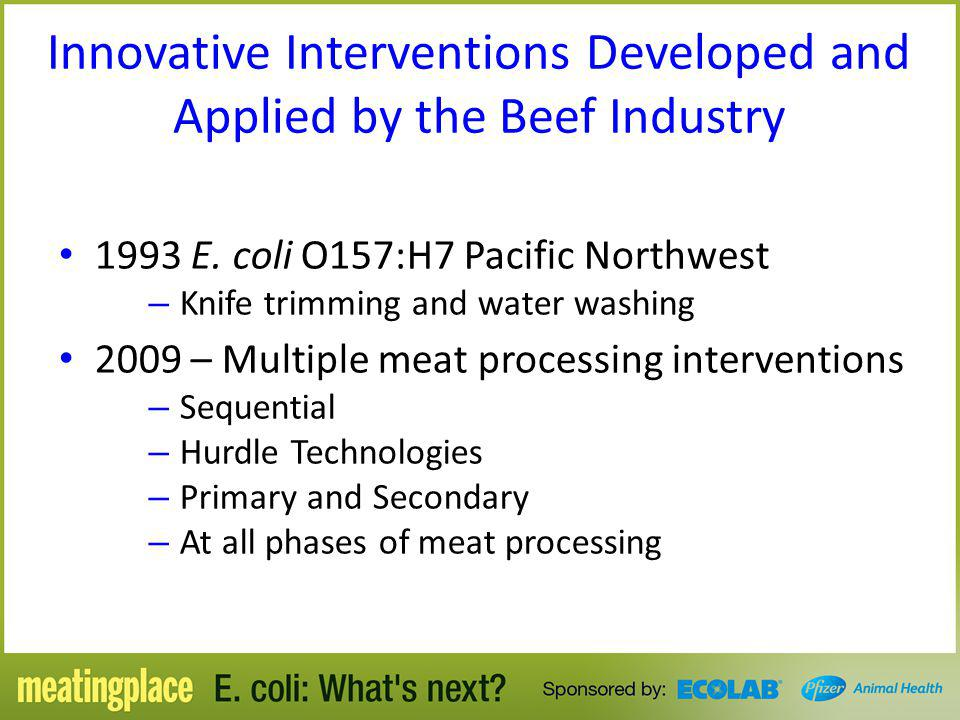 Innovative Interventions Developed and Applied by the Beef Industry