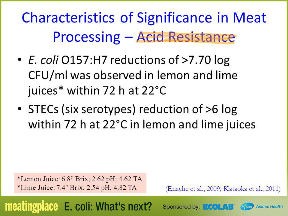 Characteristics of Significance in Meat Processing – Acid Resistance