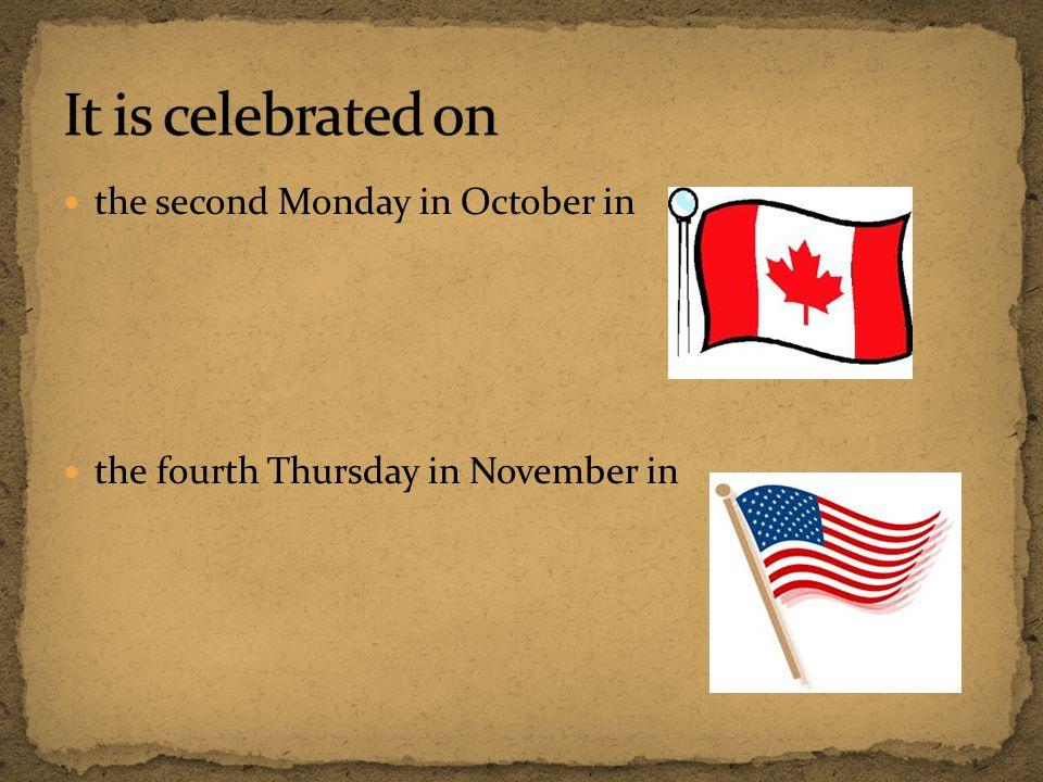 It is celebrated on the second Monday in October in