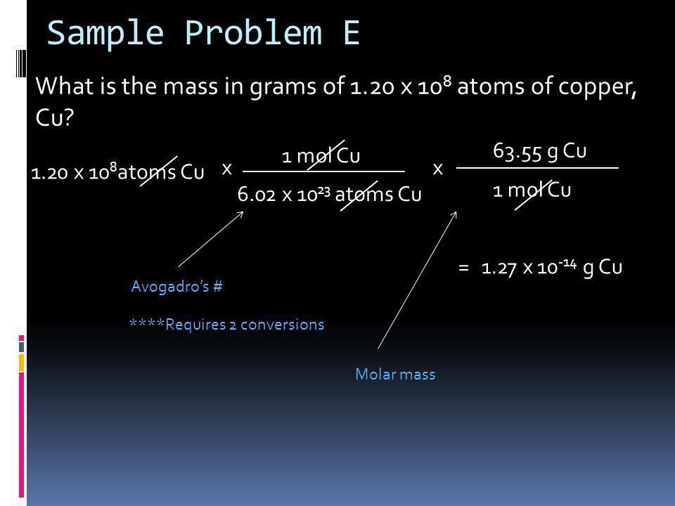 Sample Problem E What is the mass in grams of 1.20 x 108 atoms of copper, Cu 63.55 g Cu. 1 mol Cu.
