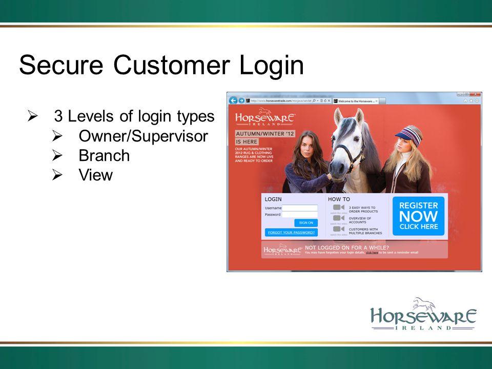 Secure Customer Login 3 Levels of login types Owner/Supervisor Branch