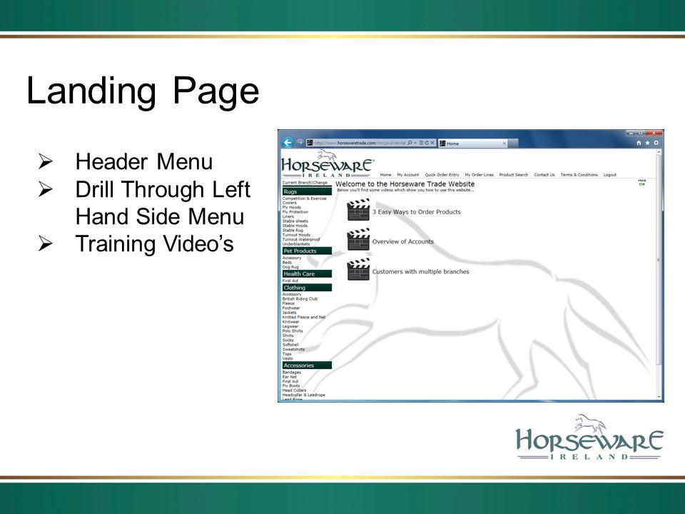 Landing Page Header Menu Drill Through Left Hand Side Menu