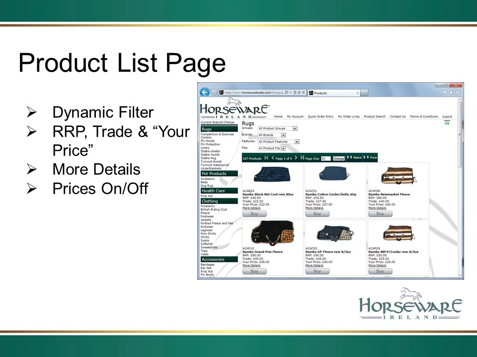 Product List Page Dynamic Filter RRP, Trade & Your Price