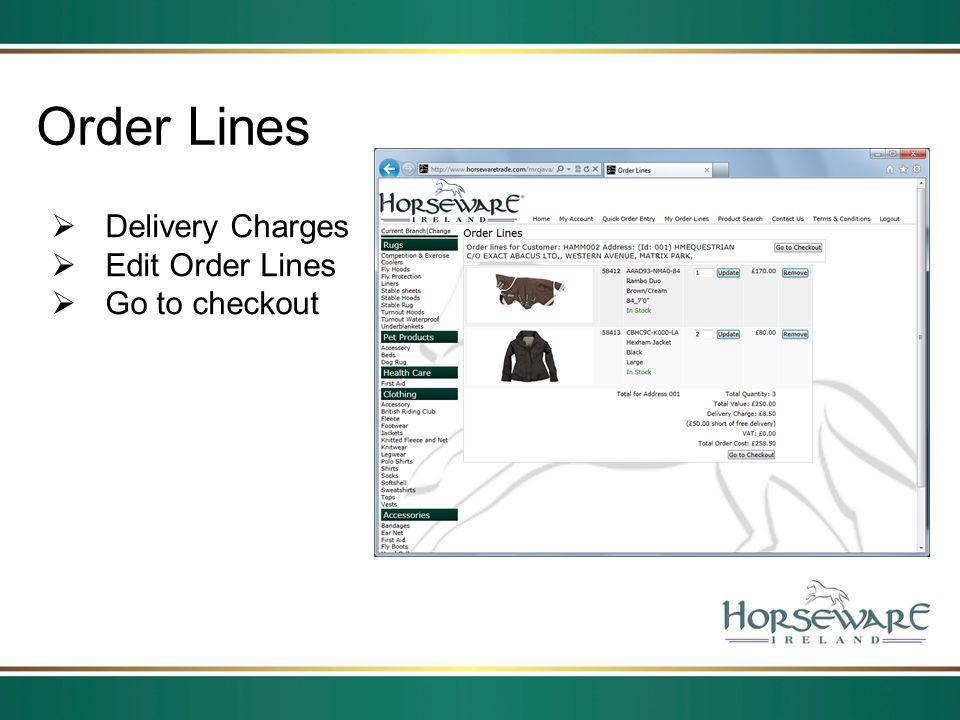 Order Lines Delivery Charges Edit Order Lines Go to checkout
