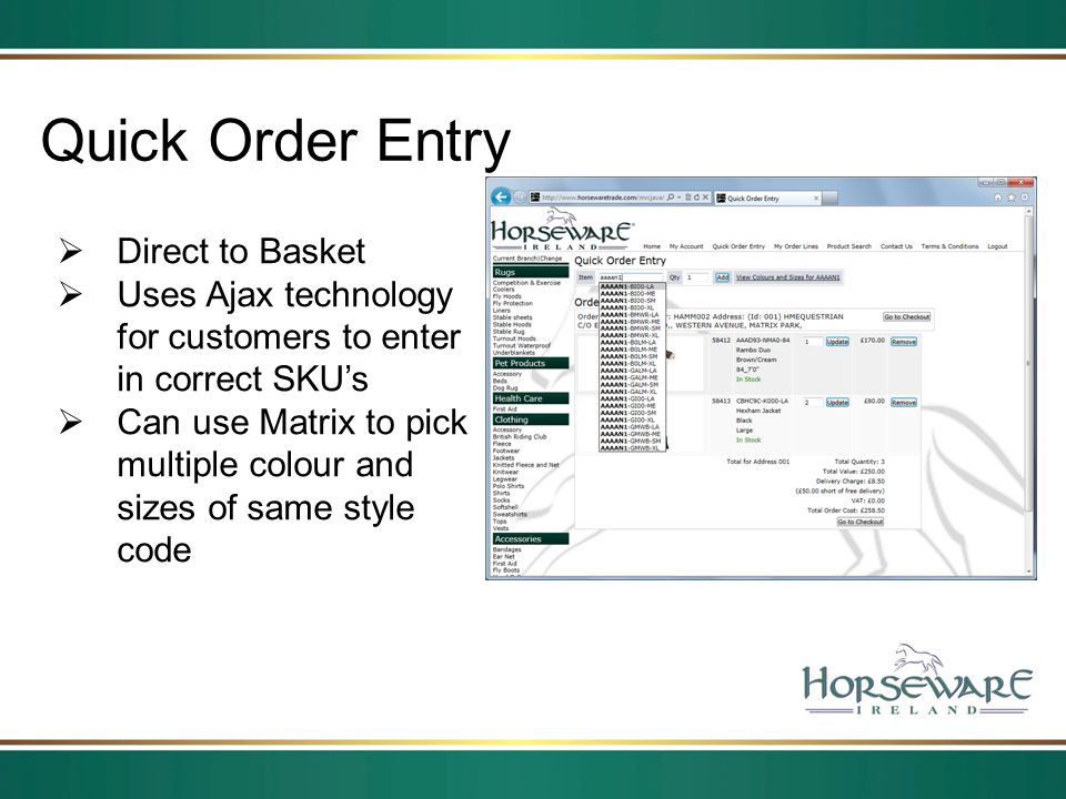 Quick Order Entry Direct to Basket