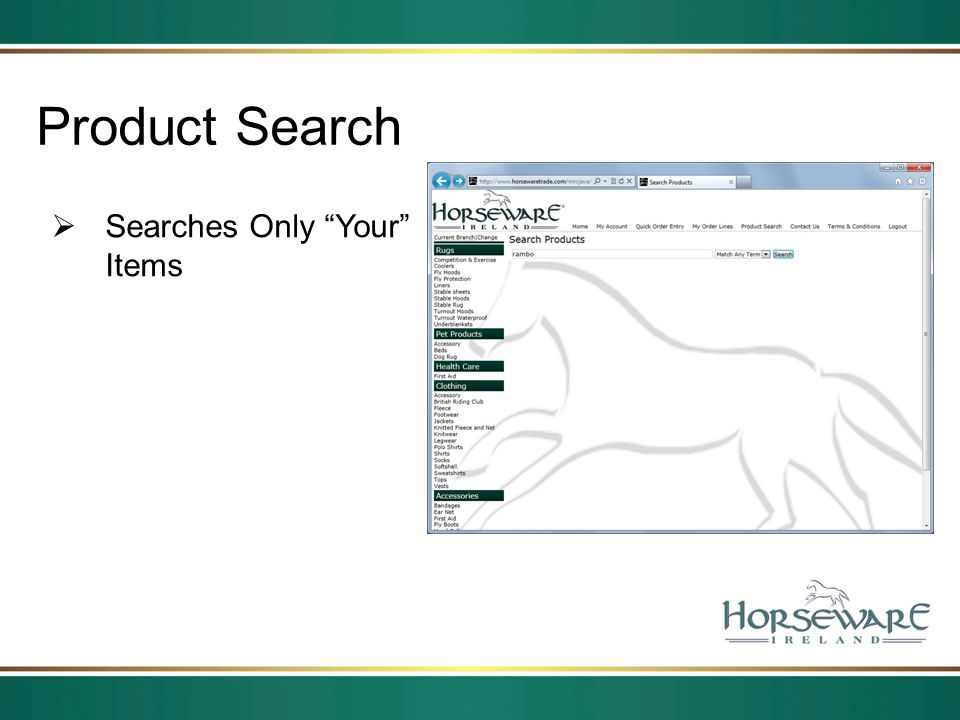 Product Search Searches Only Your Items