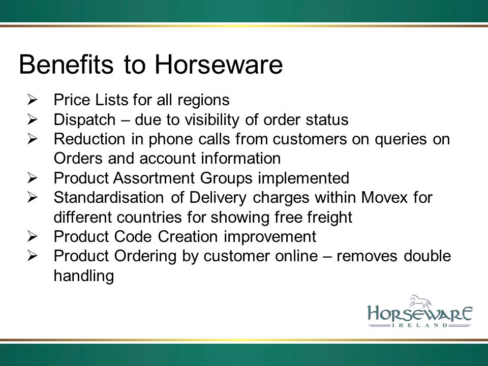 Benefits to Horseware Price Lists for all regions