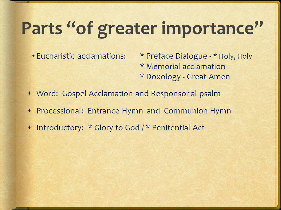 Parts of greater importance