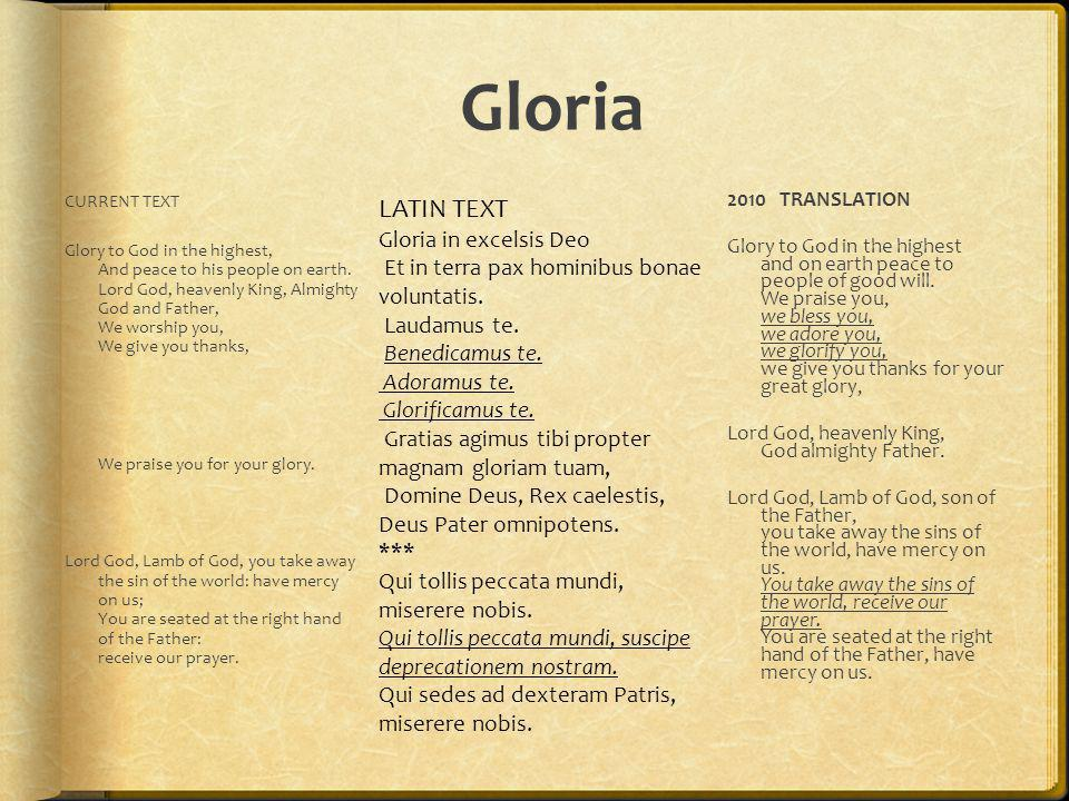 Gloria LATIN TEXT Gloria in excelsis Deo