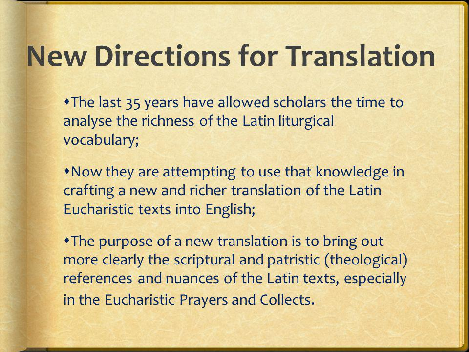 New Directions for Translation