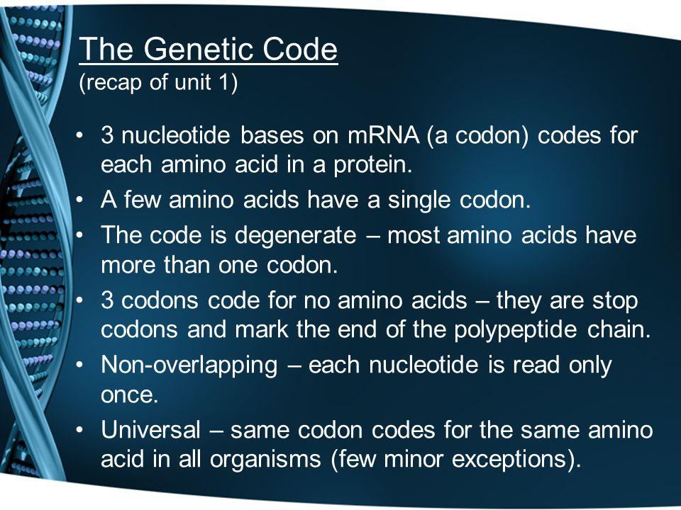 The Genetic Code (recap of unit 1)