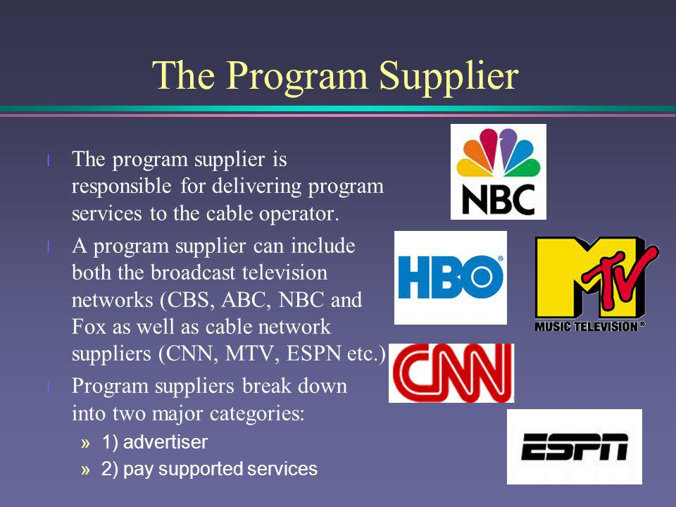 The Program Supplier The program supplier is responsible for delivering program services to the cable operator.