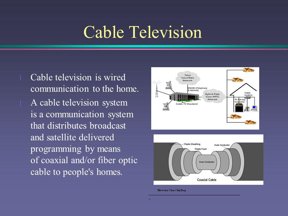 Cable Television Cable television is wired communication to the home.