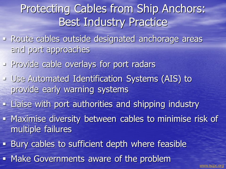 Protecting Cables from Ship Anchors: Best Industry Practice