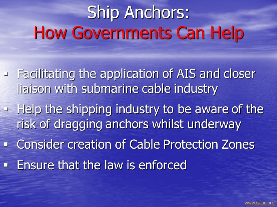 Ship Anchors: How Governments Can Help