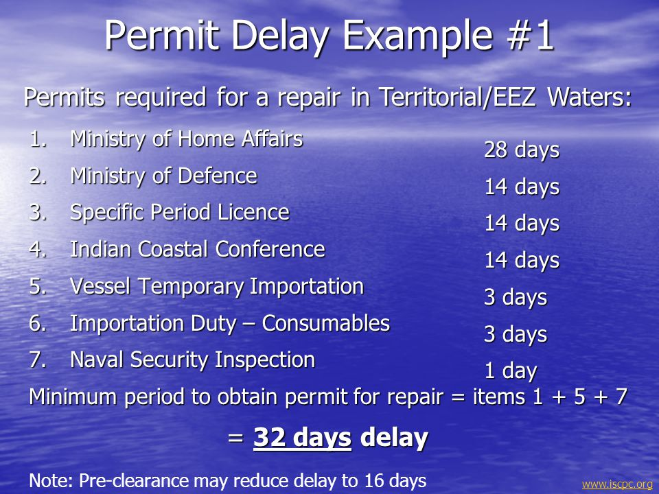 Permit Delay Example #1 Permits required for a repair in Territorial/EEZ Waters: Ministry of Home Affairs.