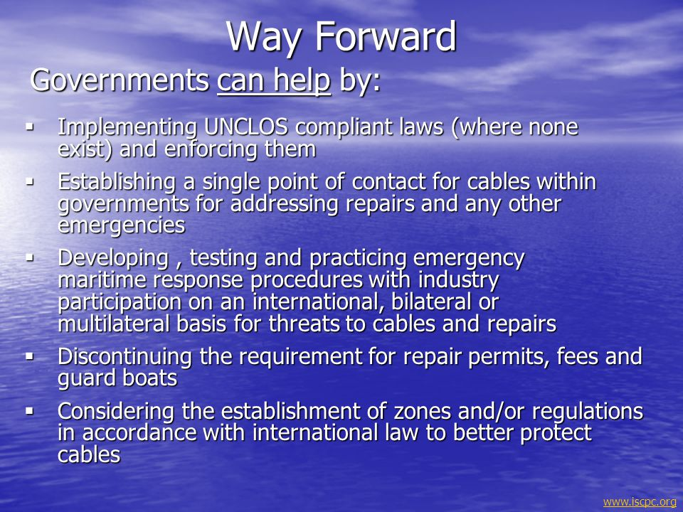 Way Forward Governments can help by: