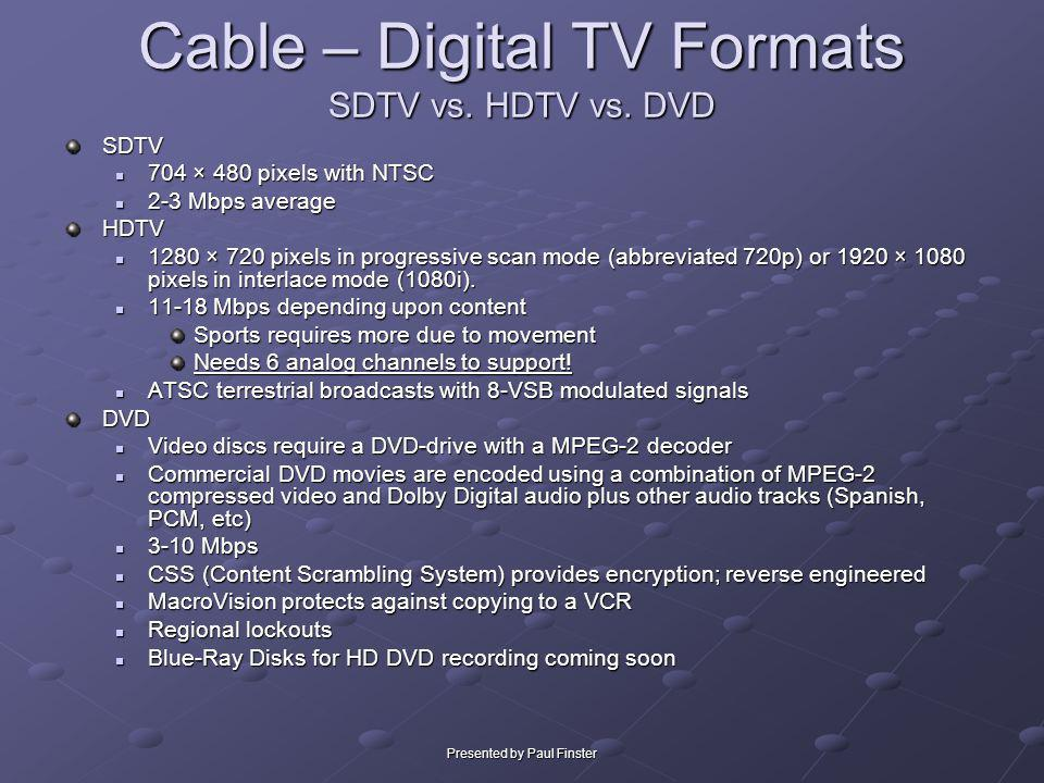 Cable – Digital TV Formats SDTV vs. HDTV vs. DVD