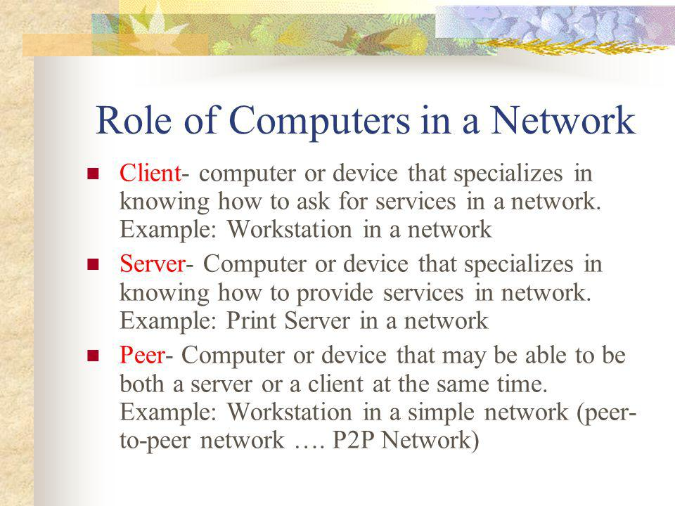 Role of Computers in a Network