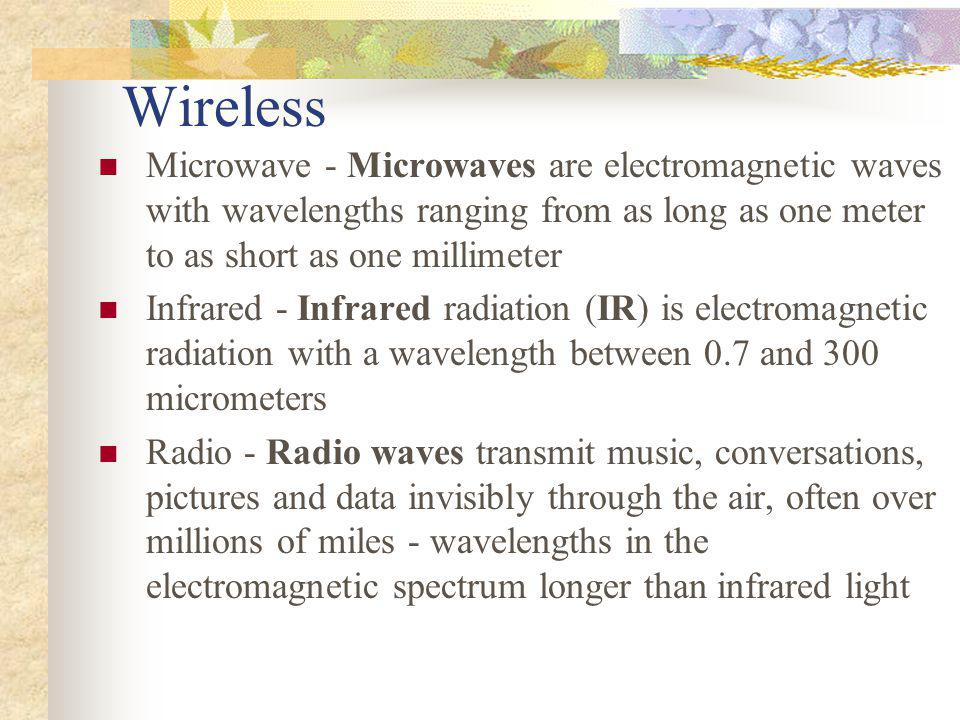 Wireless Microwave - Microwaves are electromagnetic waves with wavelengths ranging from as long as one meter to as short as one millimeter.