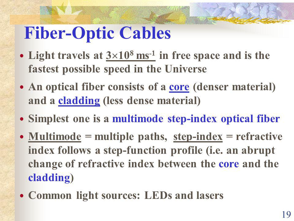 Fiber-Optic Cables Light travels at 3108 ms-1 in free space and is the fastest possible speed in the Universe.
