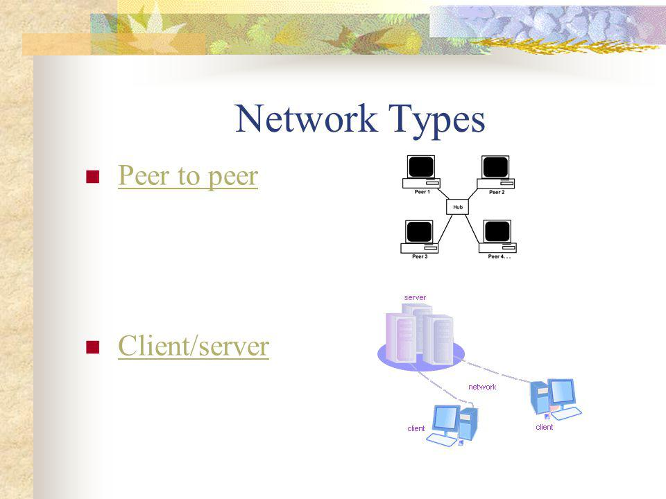Network Types Peer to peer Client/server