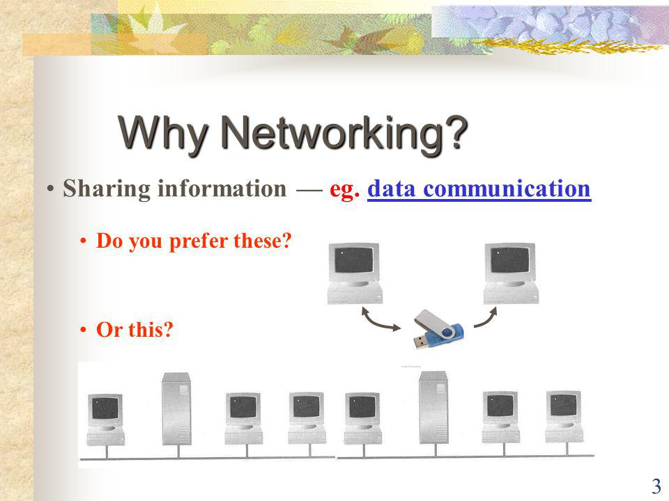 Why Networking Sharing information — eg. data communication
