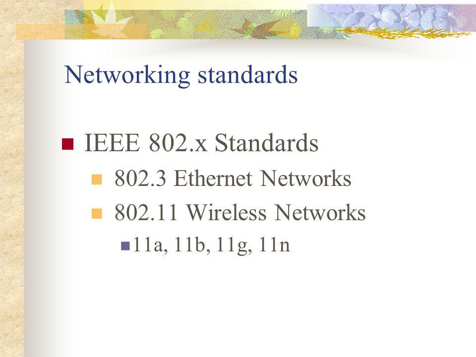 Networking standards IEEE 802.x Standards 802.3 Ethernet Networks