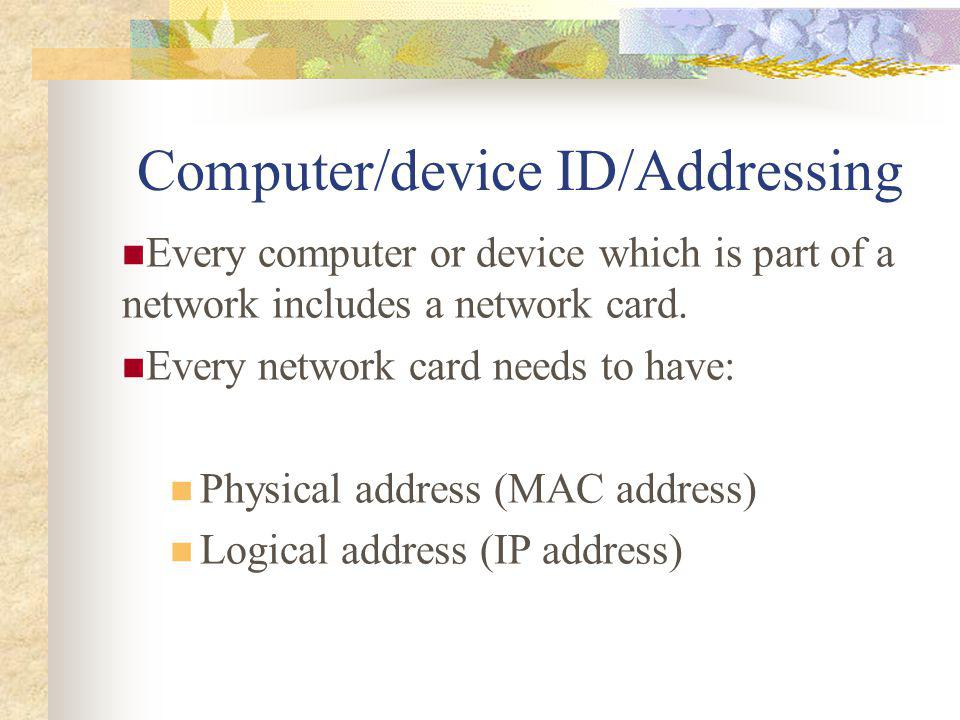 Computer/device ID/Addressing