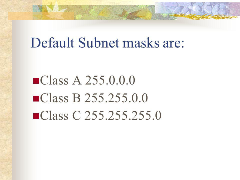 Default Subnet masks are: