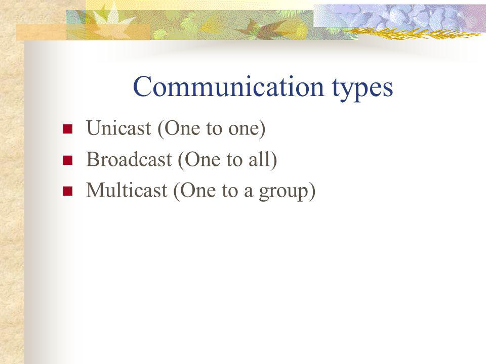 Communication types Unicast (One to one) Broadcast (One to all)
