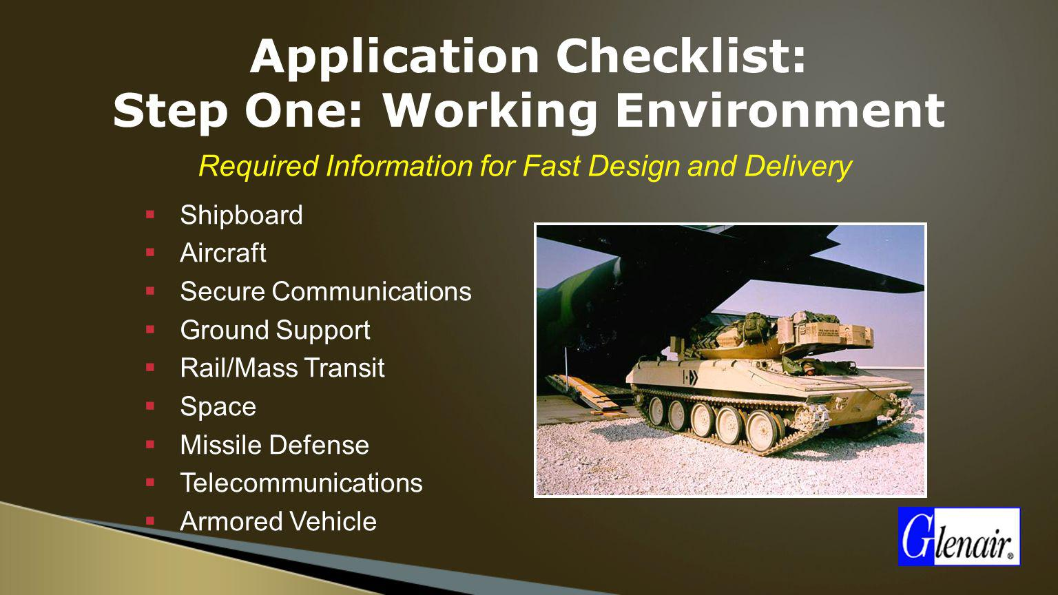 Application Checklist: Step One: Working Environment