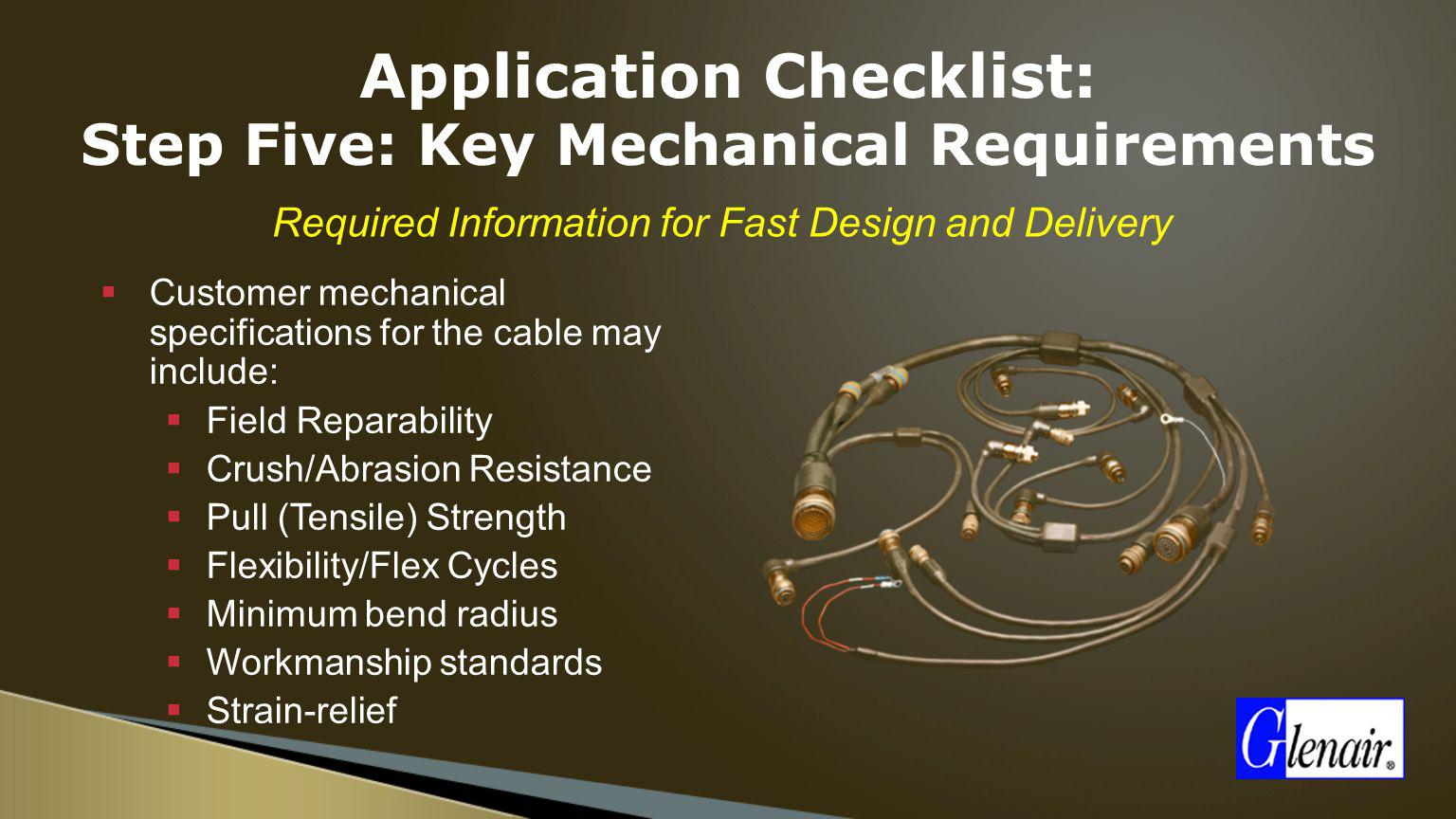 Application Checklist: Step Five: Key Mechanical Requirements