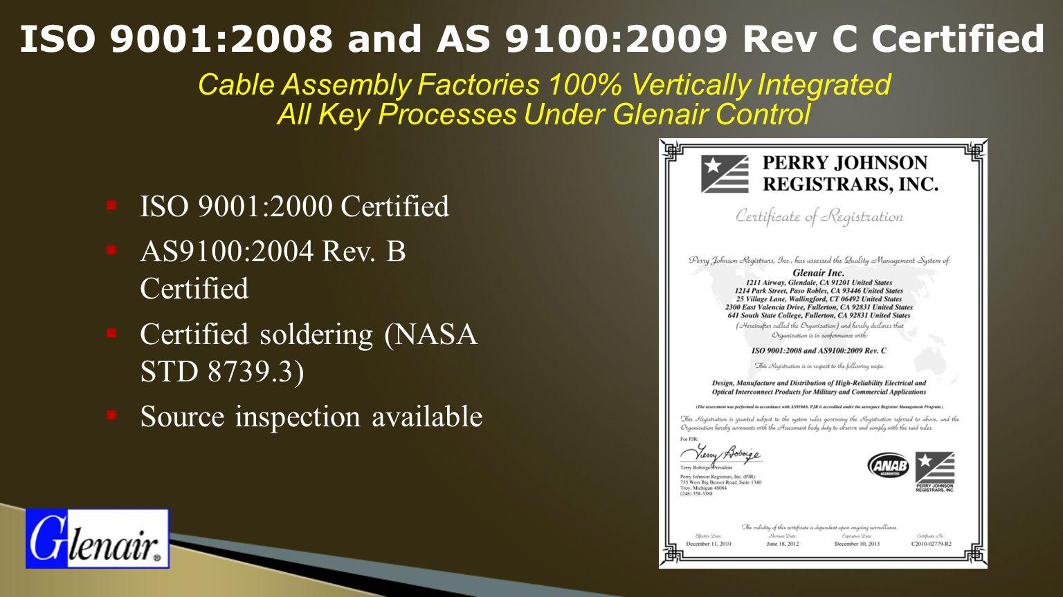 ISO 9001:2008 and AS 9100:2009 Rev C Certified
