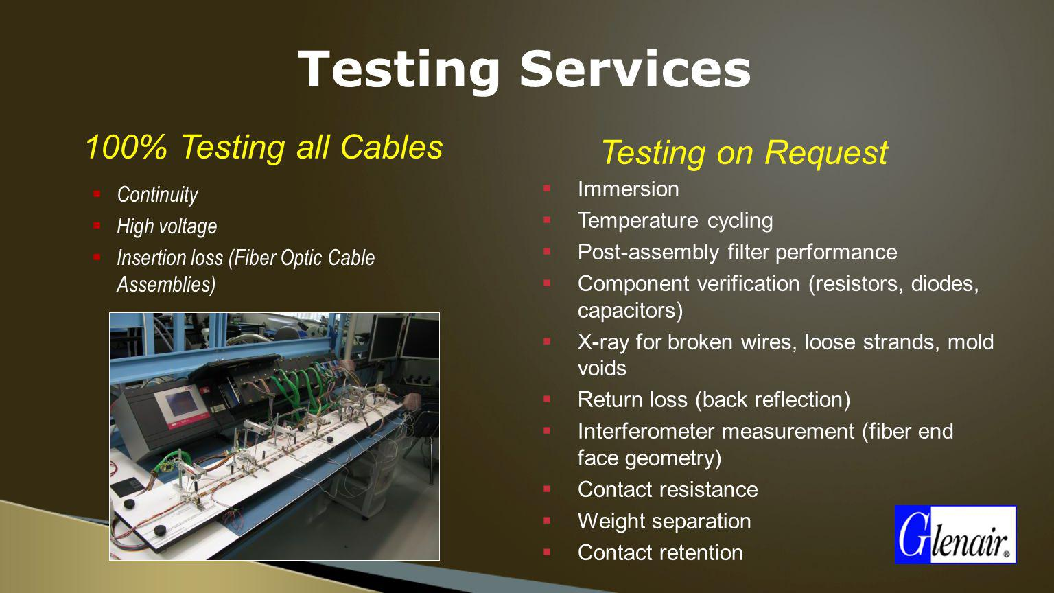 Testing Services 100% Testing all Cables Testing on Request Immersion