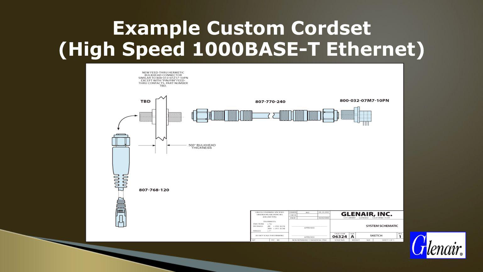 Example Custom Cordset (High Speed 1000BASE-T Ethernet)